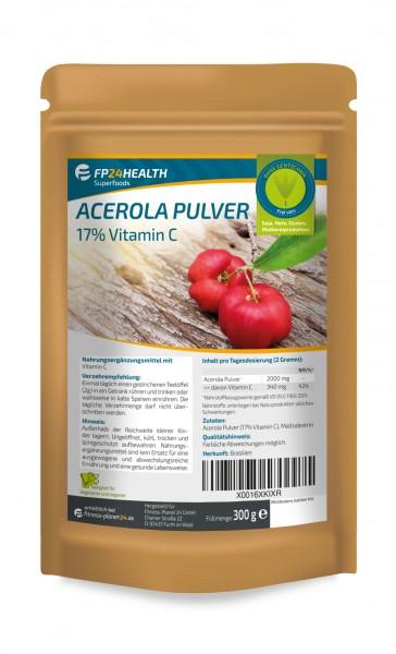 FP24 Health Vitamin C Acerola Pulver - 17% natürliches Vitamin C - 300g im Zippbeutel