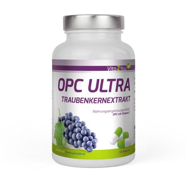 Vita2You OPC Ultra Traubenkernextrakt 600mg pro Kapsel - 120 Kapseln mit Vitamin C - Traubenkern