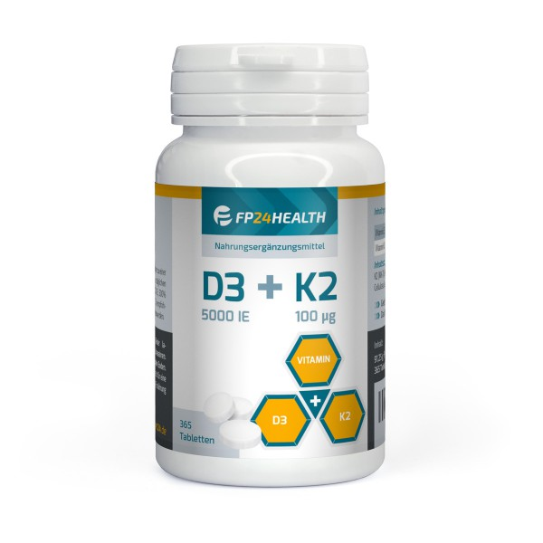 FP24 Health Vitamin D3+K2 - 365 Tabletten - Vitamin D3 5000IE - Vitamin K2 100μg - Hochdosiert