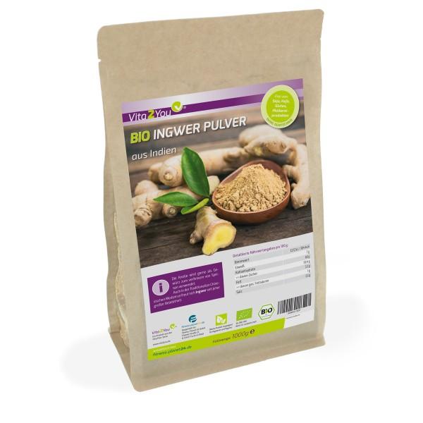 Vita2You Bio Ingwer Pulver 1 kg im Zippbeutel - aus Ökologischen Anbau - fein gemahlen