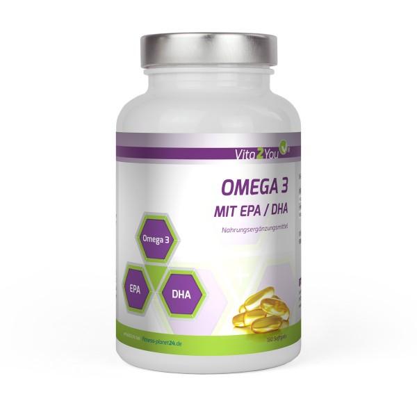Vita2You Omega 3 - 1000mg mit EPA & DHA - 180 Softgel - Fischöl kapseln - MHD 09/2019