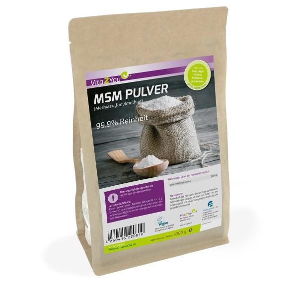 MSM Pulver 1000g - (Methylsulfonylmethan) - Meshfaktor 40-80 - im wiederverschließbaren Zippbeutel