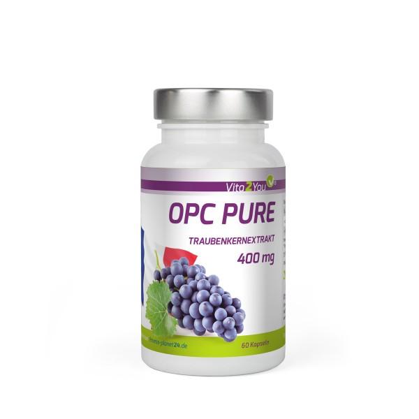 Vita2You OPC Pure Traubenkernextrakt 400mg pro Kapsel - Traubenkerne aus FR -60 Kapseln - MHD: 05/21