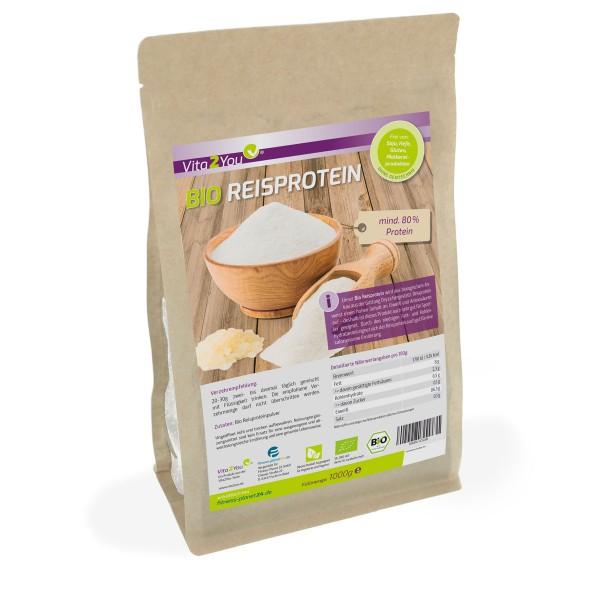 Vita2You Bio Reisprotein 1000g im Zippbeutel - mind. 80% Protein - Glutenfrei - Eiweiss