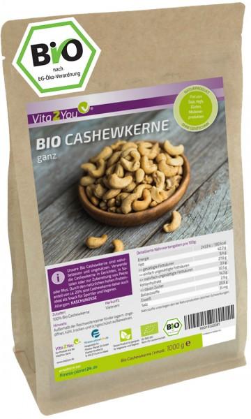 Vita2You Cashewkerne Bio 1000g - naturbelassen - aus biologischen Anbau - ganze cashewnüsse