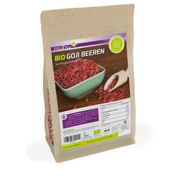 Vita2You Bio Goji Beeren 1kg Zippbeutel - aus Ökologischem Anbau - Premium Qualität