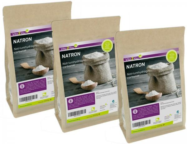Vita2You Natron 6kg - Natriumhydrogencarbonat Pulver - natriumbicarbonat - 3 x 2kg -Premium Qualität