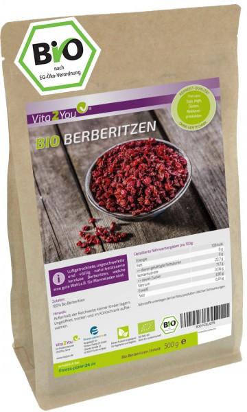Vita2You Bio Berberitzen 500g - getrocknet - ohne Zusätze - ungeschwefelt - Ökologischer Anbau