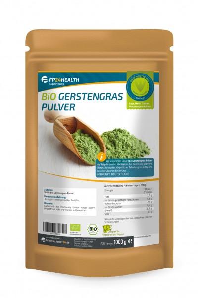 FP24 Health Bio Gerstengras Pulver 1kg - aus Bayern - Ökologischer Anbau - Made in Germany