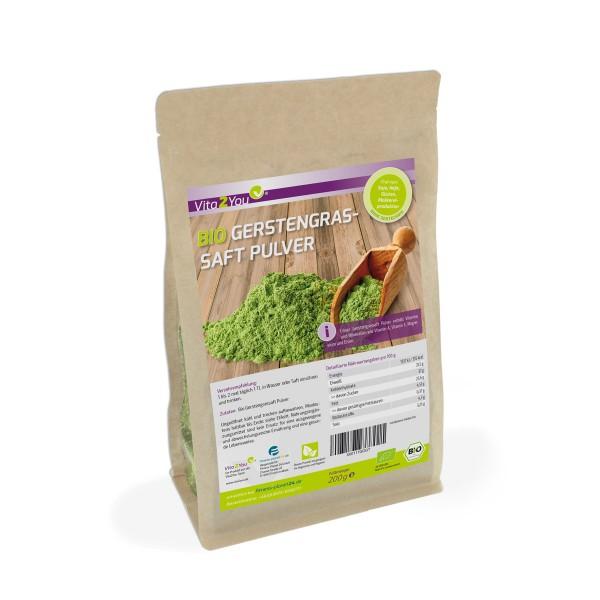 Vita2You Bio Gerstengrassaft Pulver 200g Saftpulver im Zippbeutel - Premium Qualität