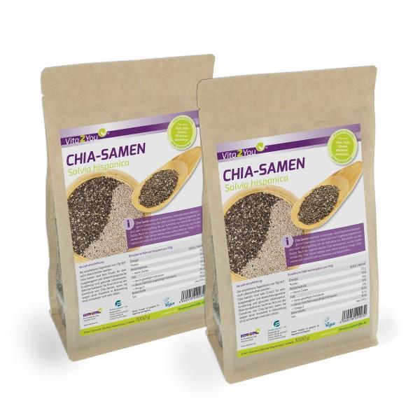 Vita2You Chia Samen Doppelpack 2 x 1kg Zippbeutel - Salvia Hispanica - Premium Qualität