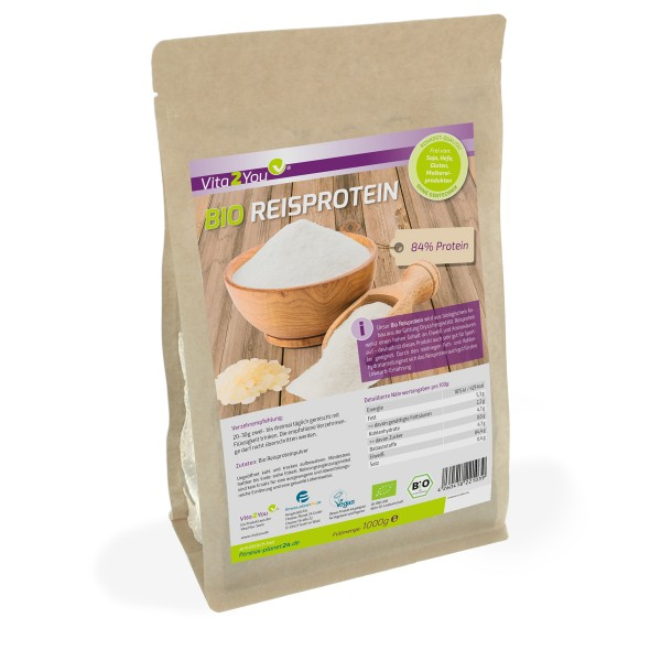 Vita2You Bio Reisprotein 1000g im Zippbeutel - 84% Protein - Glutenfrei - Eiweiss