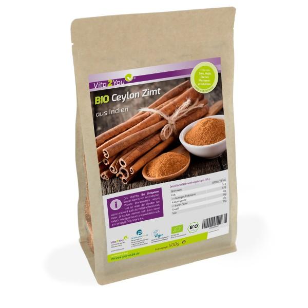 Vita2You Bio Ceylon Zimt 500g - 100% Ökologischer Anbau - DE-ÖKO-006