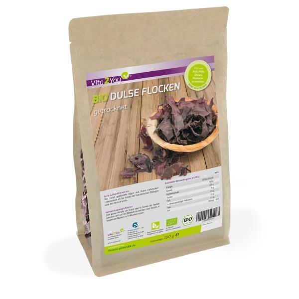 Vita2You Bio Dulse Flocken - 100g - getrocknet - Ökologischer Anbau - Algen im Zippbeutel