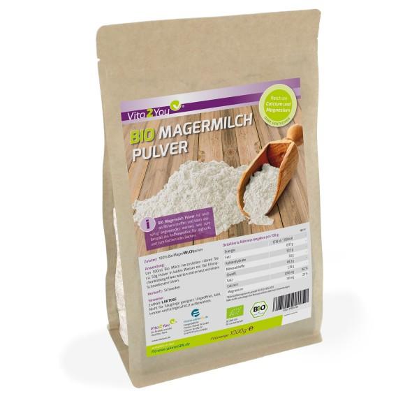 Vita2You Bio Magermilchpulver 1000g - für Yoghurt - zum Backen - Kaffeeweißer uvm. Premium Qualität