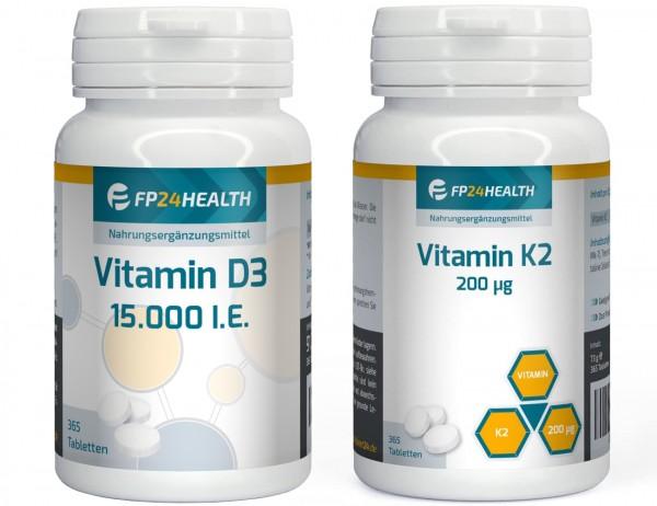 FP24 Health Vitamin K2 - 200μg + Vitamin D3 15.000 IE je 365 Tabletten - Spar Angebot