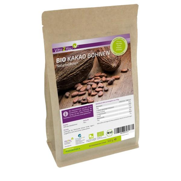 Vita2You Bio Kakaobohnen 500g - Rohkost - naturbelassen - ganze Kakao Bohnen aus öko Anbau