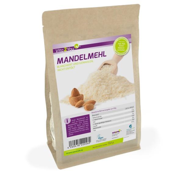 Vita2You Mandelmehl 750g - blanchiert und naturbelassen (nicht entölt) - Premium Qualität