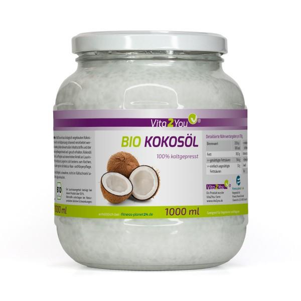 Vita2You BIO Kokosöl 1000ml - Kaltgepresst und Nativ - Premium Qualität