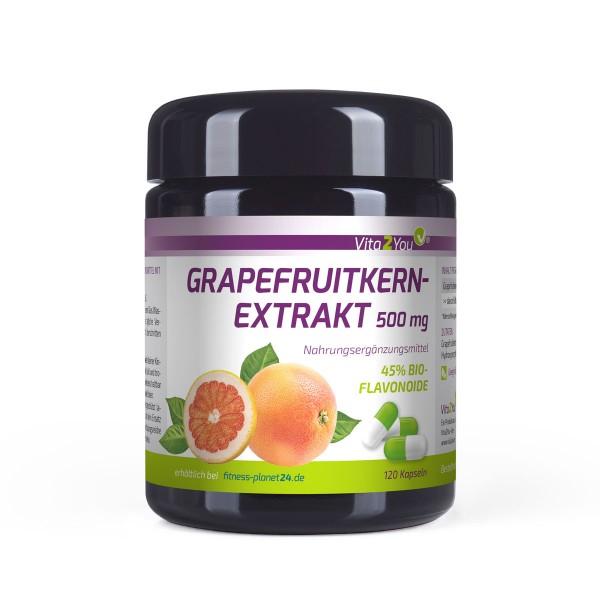 Vita2You Grapefruitkernextrakt 500mg 120 Kapseln - 45% Bio-Flavonoide - im Miron Glas