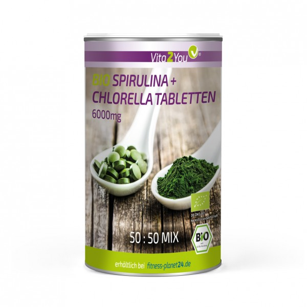 Vita2You Bio Spirulina + Chlorella Tabletten 500 Tabletten - ökologischer Anbau - Superfood Algen