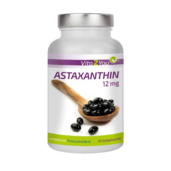 Vita2You Astaxanthin 12mg - 60 Softgel Kapseln - Natürlich aus Blutregenalgen - Hochdosiert