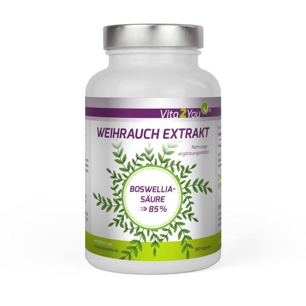 Vita2You Weihrauch Extrakt 500mg pro Kapsel - 180 Kapseln - 1000mg Tagesdosis - 85% Boswelliasäure