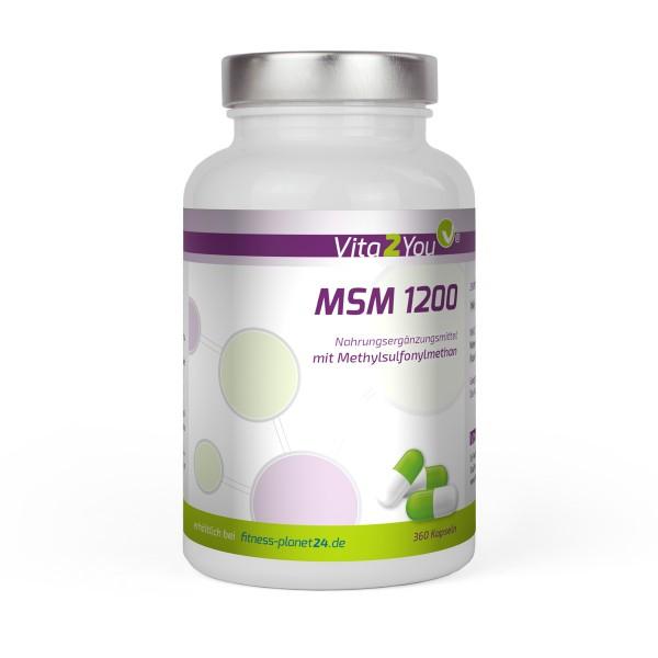 Vita2You MSM 1200 - 360 Kapseln - (Methylsulfonylmethan) - Hochdosiert