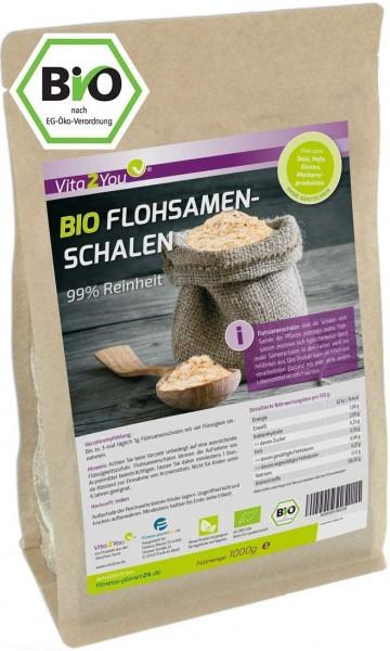 Vita2You BIO Flohsamenschalen 99% Reinheit - 1000g Zippbeutel - Ganze indische Flohsamen Schalen