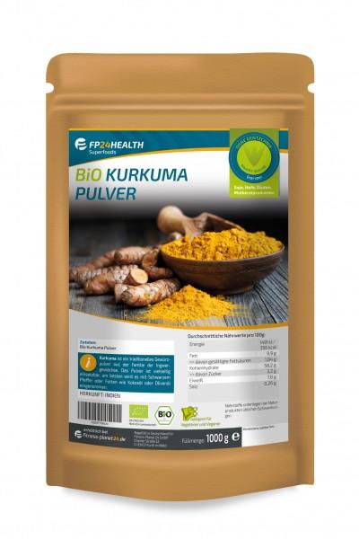 FP24 Health BIO Kurkumapulver 1kg - im Zippbeutel - Kurkuma gemahlen - aus Indien - 1000g Curcuma