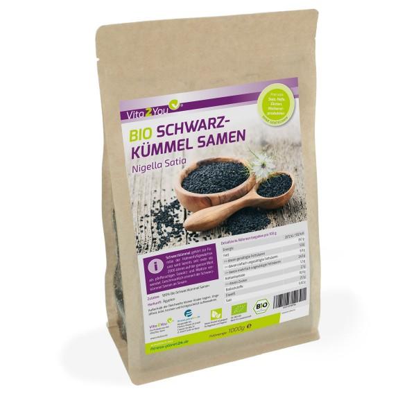 Vita2You Bio Schwarzkümmel Samen 1kg - ganzer Ägyptischer Schwarzkümmelsamen