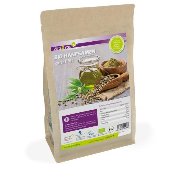 Vita2You Bio Hanfsamen geschält 750g - 100% Rohkost-Qualität im Zippbeutel