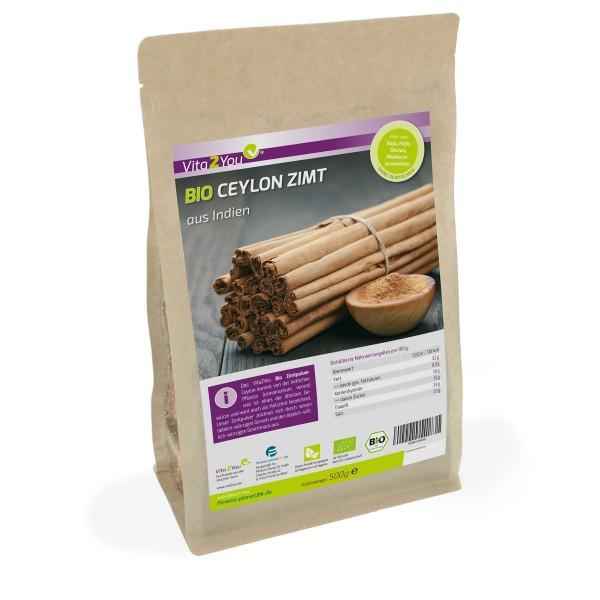 Vita2You Bio Ceylon Zimt Pulver 500g - 100% Ökologischer Anbau - DE-ÖKO-006