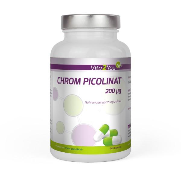 Vita2You Chrom Picolinat 200mcg - 365 Kapseln - Jahrespackung - Premium Qualität