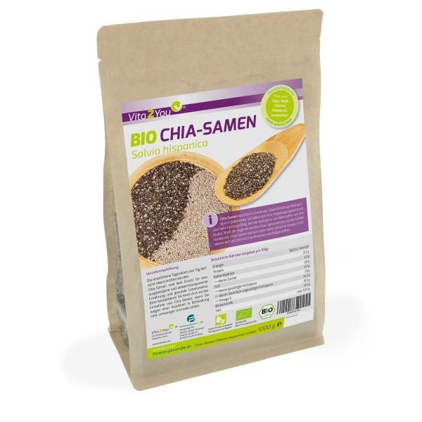Vita2You BIO Chia Samen 1kg Zippbeutel - Premium Qualität