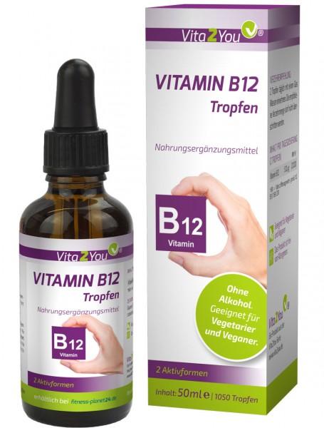 Vita2You Vitamin B12 Tropfen 50ml - 2 Aktivformen - 250μg pro Tropfen - flüssig - Hochdosiert