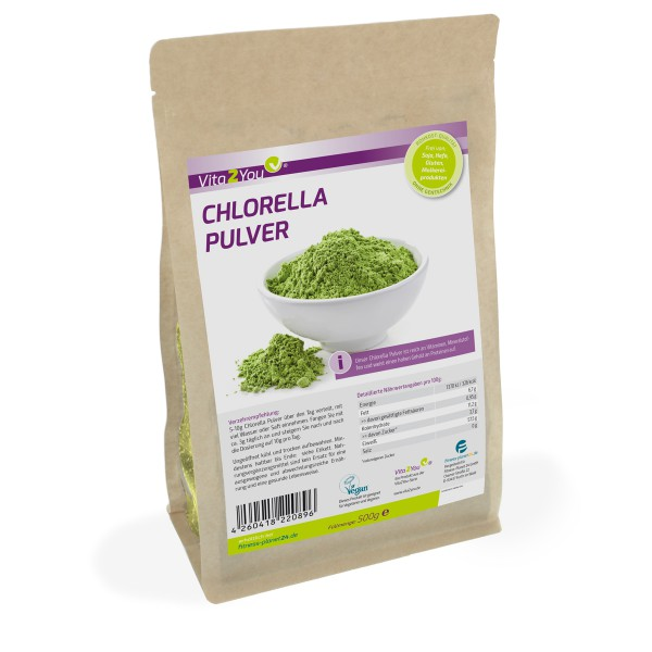 Vita2You Chlorella Pulver 500g - Superfood-Alge - Premium Qualität